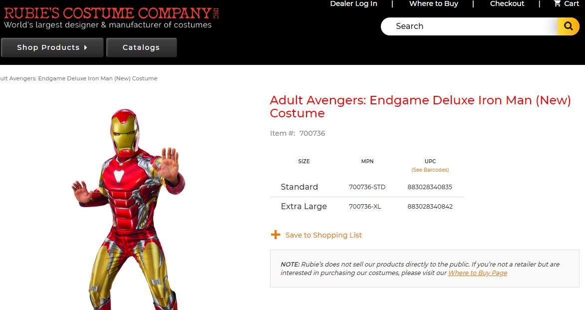 Iron Man Endgame Costume